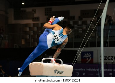 Szczecin / Poland - 13th April 2019: European Artistic Gymnastics Championships - Apparatus Final MAG Pommel horse - Marios Georgiou