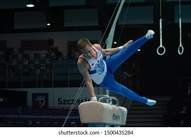 Szczecin / Poland - 13th April 2019: European Artistic Gymnastics Championships - Apparatus Final MAG Pommel horse - Vladislav Poliashov