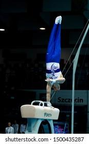 Szczecin / Poland - 13th April 2019: European Artistic Gymnastics Championships - Apparatus Final MAG Pommel horse - Cyril Tommasone