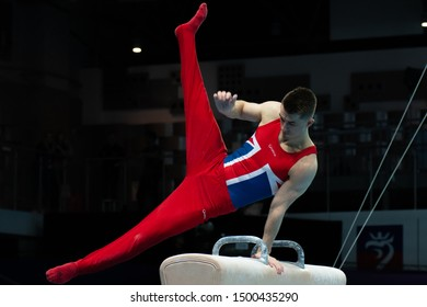 Szczecin / Poland - 13th April 2019: European Artistic Gymnastics Championships - Apparatus Final MAG Pommel horse - Max Whitlock