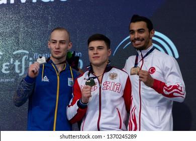 Szczecin / Poland - 14th April 2019: 8th European Men's and Women's Artistic Gymnastics Individual Championships - Apparatus Final Seniors Medalists - MAG Parallel Bars