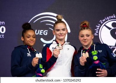 Szczecin / Poland - 14th April 2019: 8th European Men's and Women's Artistic Gymnastics Individual Championships - Apparatus Final Seniors Medalists - WAG Beam