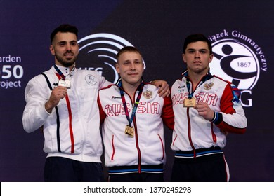 Szczecin / Poland - 14th April 2019: 8th European Men's and Women's Artistic Gymnastics Individual Championships - Apparatus Final Seniors Medalists - MAG Vault