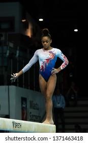 Szczecin / Poland - 14th April 2019: European Artistic Gymnastics Championships - Women Apparatus Final Balance Beam