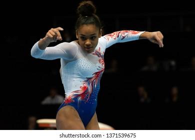 Szczecin / Poland - 14th April 2019: European Gymnastic Championships , Women Artistic Gymnastics Apparatus Final - Floor exercises