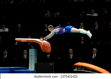 Szczecin / Poland - 14th April 2019: European Artistic Gymnastics Championships - Apparatus Final - MAG Vault - Denis Abliazin
