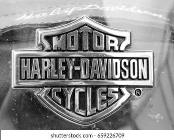 SZCZECIN, POLAND - 16 May 2015: Detail and logo of Harley - Davidson.