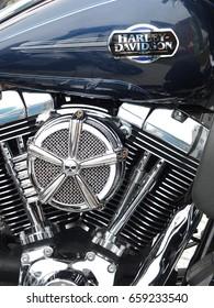 SZCZECIN, POLAND - 16 May 2015: Detail and logo of Harley - Davidson motorbike