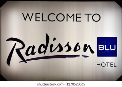 Szczecin, Poland. 23 December 2018.  Sign Radisson Blu. Company signboard Radisson Blu.