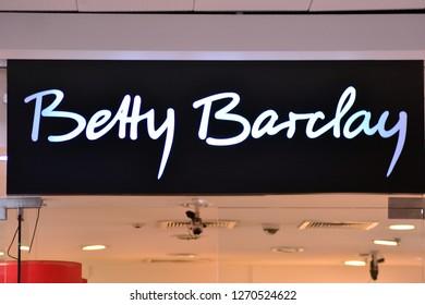 Szczecin, Poland. 23 December 2018.  Sign Betty Barclay. Company signboard Betty Barclay.