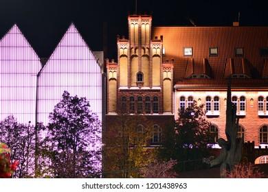 Szczecin, Poland. 6 October 2018. Szczecin philharmonic at night