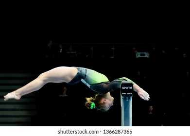 Szczecin/ Poland - April 11 2019: Megan Ryan on balance beam during WAG qualifications at European Championships in subdivision 1