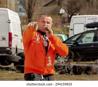 Szczecin, Poland - April 12, 2015:  Mariusz Pudzianowski, Polish former strongman and current mixed martial artist. During his career as a strongman, won five World's Strongest Man titles.