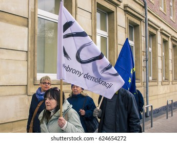"""SZCZECIN, POLAND - APRIL 20, 2017: The demonstration of the """"Komitet Obrony Demokracji"""" (eng. Committee For Defence of Democracy) for democracy against PIS government."""