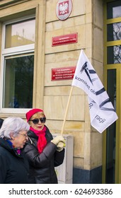 "SZCZECIN, POLAND - APRIL 20, 2017: The demonstration of the ""Komitet Obrony Demokracji"" (eng. Committee For Defence of Democracy) for democracy against PIS government."