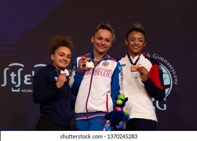 Szczecin / Poland - April 2019: 8th European Men's and Women's Artistic Gymnastics Individual Championships - Apparatus Final Seniors Medalists - WAG Vault