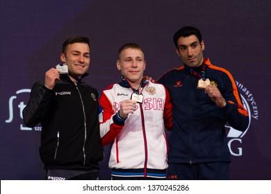 Szczecin / Poland - April 2019: 8th European Men's and Women's Artistic Gymnastics Individual Championships - Apparatus Final Seniors Medalists - MAG Rings