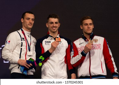 Szczecin / Poland - April 2019: 8th European Men's and Women's Artistic Gymnastics Individual Championships - Apparatus Final Seniors Medalists - MAG Pommel Horse