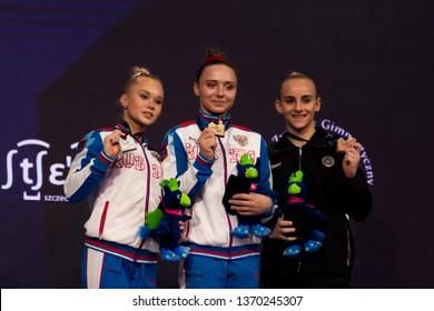 Szczecin / Poland - April 2019: 8th European Men's and Women's Artistic Gymnastics Individual Championships - Apparatus Final Seniors Medalists - WAG Uneven Bars