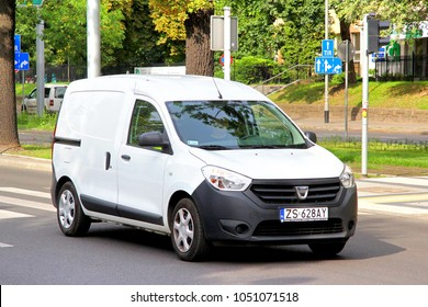 Szczecin, Poland - August 13, 2014: Cargo van Dacia Dokker in the city street.