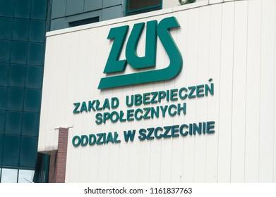 Szczecin, Poland - August 15, 2018: Logo and sign ZUS (Polish: Zaklad Ubezpieczen Spolecznych) on the office in Szczecin. ZUS is Polish Social Insurance Institution.
