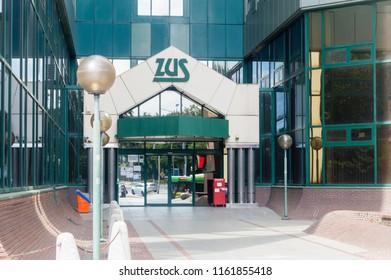 Szczecin, Poland - August 15, 2018: Entrance to Polish Social Insurance Institution (Polish: Zaklad Ubezpieczen Spolecznych) office in Szczecin.