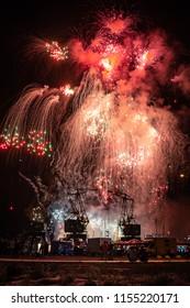 SZCZECIN, POLAND - AUGUST 2018: Fireworks festival during Pyromagic 2018 (International Pyrotechnic Show) in Szczecin, Poland