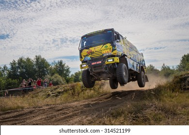 Szczecin, Poland - August 30th: KM Racing truck number 301 during FIA CROSS COUNTRY RALLY WORLD CUP 2015 on August 30, 2015 in Szczecin, Poland