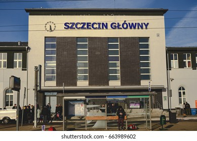 Szczecin, Poland - December 03, 2016: Central entrance to the railway station building