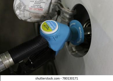 "Szczecin, Poland - December 22, 2017: gas pump at the service station ""BP"", Unleaded petrol 98 octane, closeup,"