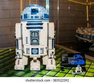 SZCZECIN, POLAND - FEBRUAR 27, 2016: Star Wars characters, R2D2, made by Lego blocks. Lego is a popular line of construction toys popular with kids and collectors worldwide.