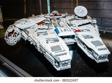 SZCZECIN, POLAND - FEBRUAR 27, 2016: Star Wars Millennium Falcon Starship, made by Lego blocks. Lego is a popular line of construction toys popular with kids and collectors worldwide.