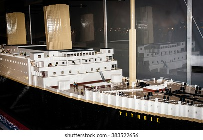SZCZECIN, POLAND - FEBRUAR 27, 2016: Titanic legendary colossal boat, made by Lego blocks. Lego is a popular line of construction toys popular with kids and collectors worldwide.