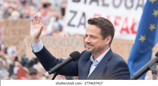 SZCZECIN, POLAND - JULY 08, 2020: Presidential election in Poland. Election rally of the candidate opposition Rafal Trzaskowski.