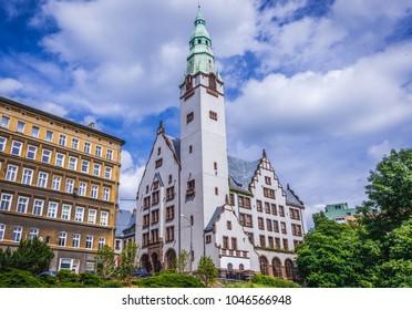 Szczecin, Poland - July 11, 2017: One of the buildings of Pomeranian Medical University building in Szczecin city