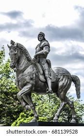 Szczecin, Poland, July 17, 2017: Colleoni on a horse, monument in Szczecin, Poland, summer time.