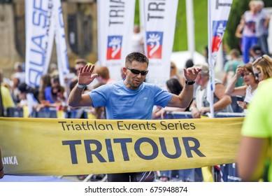 Szczecin, Poland, July 9, 2017: Triathlon Szczecin, Triathletes run to the finish.