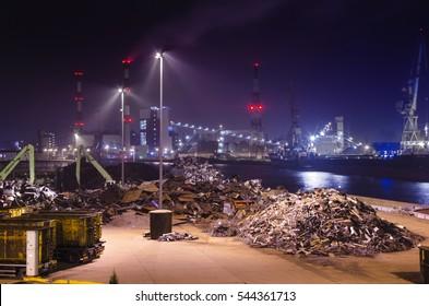 Szczecin, Poland: junkyard in polish harbor