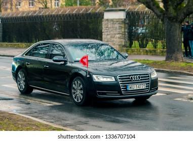 SZCZECIN, POLAND - March 11, 2019: President of Republic Poland Andrzej Duda, drives through the street in his Audi A8 Presidential limousine.