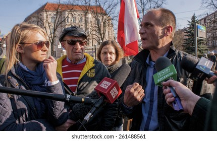 SZCZECIN, POLAND - MARCH 17, 2015: Pawel Kukiz, Independent candidate for President of the Republic Poland, during Press Conference. Kukiz is polish controversial rock star, songwriter and actor.