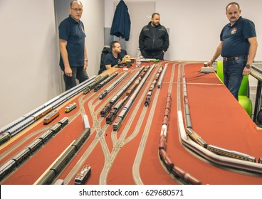 SZCZECIN, POLAND - MARCH 18, 2017: Model Train show. The show is designed for the general public, modelers, hobbyists, families, and the just plain curious.