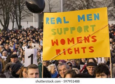SZCZECIN, POLAND - MARCH 8, 2017: Polish Women On Strike during International Women's Day, against anti-abortion law forced by Polish government PIS Jaroslaw Kaczynski.