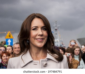 SZCZECIN, POLAND - MAY 14, 2014:  Denmark Royal Highness Mary Elizabeth during press conference in harbour.. It will be the first visit of Danish Prince Couple to Poland