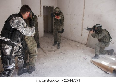 SZCZECIN, POLAND - MAY 31, 2014: Hostage rescue operation in Poland, during historical reconstruction