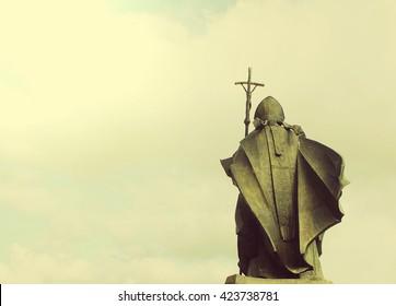 SZCZECIN, POLAND - May 4, 2016: The monument of Saint John Paul II in Szczecin, Poland; vintage filter effect