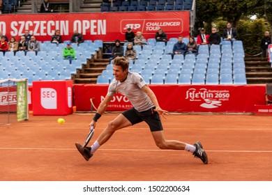 Szczecin / Poland - September 10th 2019: PEAKO Szczecin Open ATP Challenger Tour tennis tournament - Daniel Masur vs. P.Galus round 1