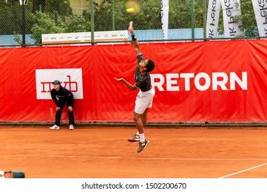 Szczecin / Poland - September 10th 2019: PEAKO Szczecin Open ATP Challenger Tour tennis tournament - Juan Pablo Varillas vs. M.Guinard round 1