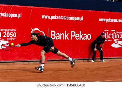 Szczecin / Poland - September 10th 2019: PEAKO Szczecin Open ATP Challenger Tour tennis tournament - final match Jozef Kovalik (SVK)