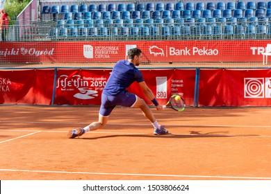 Szczecin / Poland - September 13th 2019: PEAKO Szczecin Open ATP Challenger Tour tennis tournament - Roberto Caraballes Baena (ESP) vs Guido Andreozzi (ARG)