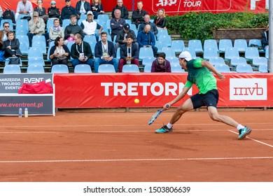 Szczecin / Poland - September 13th 2019: PEAKO Szczecin Open ATP Challenger Tour tennis tournament - Taro Daniel (JPN) vs Marco Cecchinatio (ITA)